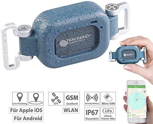 TrackerID Fahrrad Zubehör: WLAN-, GPS- & GSM-Live-Tracker mit App, Gegensprecher, Halterung, IP67 (Hundeortung)