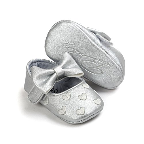 Rutsch Silber Baby Sole Anti f眉r Monate 0 Krabbelschuhe Bowknot Weiches Schuhe MiyaSudy 18 M盲dchen Lauflernschuhe qBCX6TT