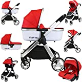 iSafe Marvel 3in1 Travel System Includes Car Sea & Carrycot (Red Pearl)