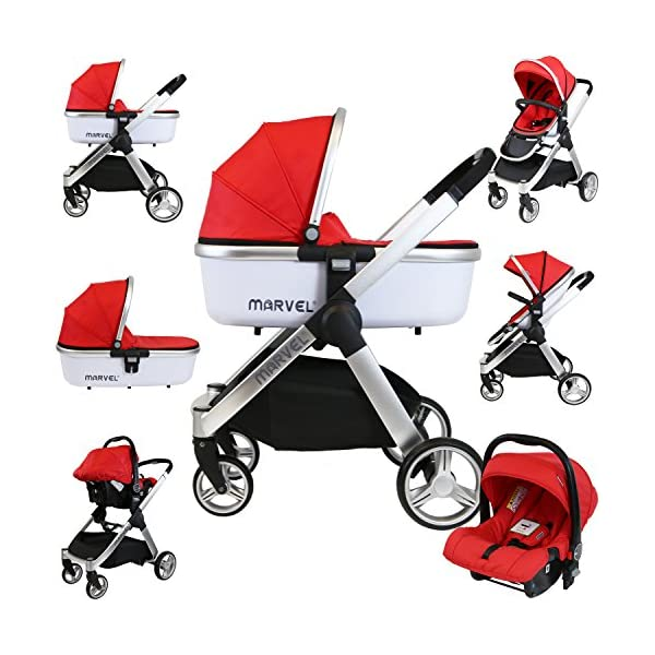 iSafe Marvel 3in1 Travel System Includes Car Sea & Carrycot (Red Pearl) iSafe  1