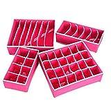 Oyfel Stoff Aufbewahrungsboxen Schublade Organizer Leinen faltbar Korb für Taschentücher Unterwäsche BHs Socken Krawatten Dresser Verschiedenes, Rose Rouge, M
