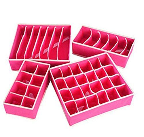 LAAT Faltbare Unterwäsche Aufbewahrungsboxen Multifunktionale Kleidung Schrank Organizer Schubladenteiler Rose Rot Set von 4 (Organisatoren X 8 7 Schublade)