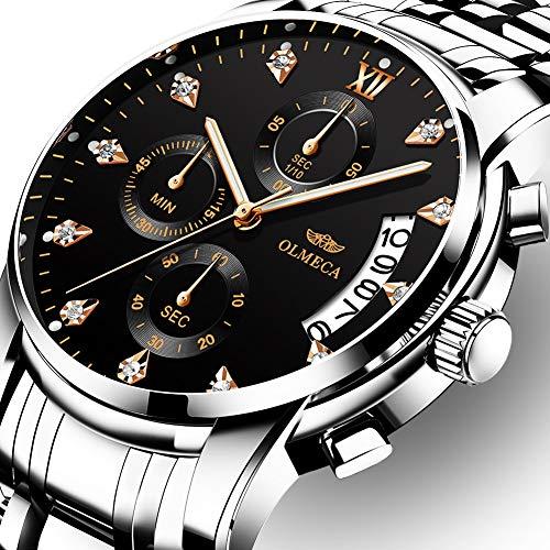5656340a5c6e OLMECA Relojes Hombre Moda de Lujo Reloj de Pulsera de Cuarzo Cronógrafo  Impermeable con Cuero