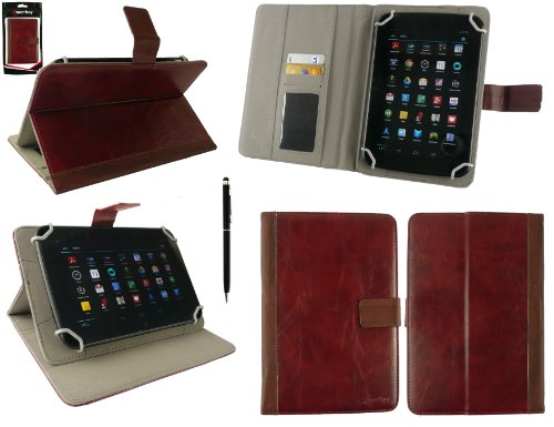 Emartbuy®Point of View Mobii Onyx Tab I549 7 Zoll Tablet Universalbereich Maroon Distressed PU LederMulti Angle Exekutiv Folio Mappen Kasten Abdeckung mit Kartensteckplätze+Schwarz 2 in 1 Eingabestift