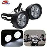 Andride Fog Light Mirror Mount 4 Led 16w White Light Auxillary Light Bike Motorcycle with and 1 Pair- For PR Fog Light Mirror Mount 4 Led 16w White Light Auxillary Light Bike Motorcycle with and 1 Pair- For Scooty All Type