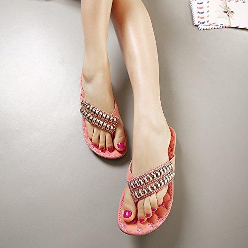 dqq femmes de perles plat sandales tong Rose