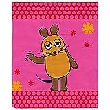 BERONAGE Die Sendung mit der Maus Decke Maus Flower Rosa/Pink 130 cm x 170 cm Flanelldecke Fleecedecke Kuscheldecke zur Bettwäsche - kuschelweich