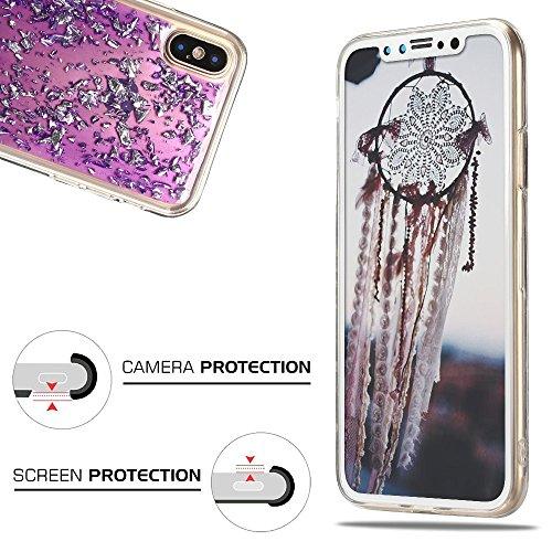 Cover iPhone X, Custodia iPhone 10, CaseLover Custodia per iPhone X / 10 Morbido TPU Silicone Trasparente Bling Bling Glitter Protettiva Case Ultra Sottile Flessibile Lusso Cristallo Scintilla Scintil Viola