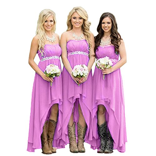 Fanciest Women' Strapless High Low Brautjungfernkleideres Wedding Party Kleid Turquoise Lilac