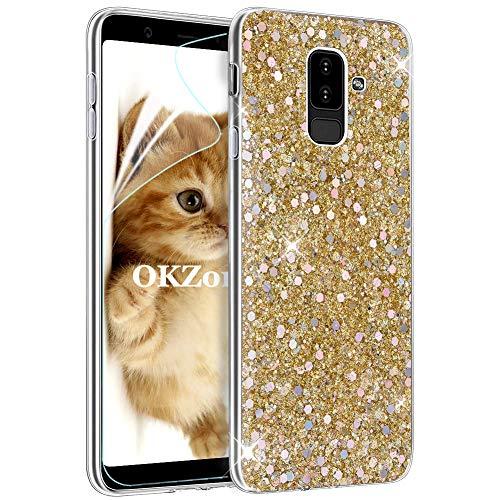 OKZone Funda Samsung Galaxy A6 Plus 2018 Carcasa Purpurina, Cárcasa Lujosa Brilla Glitter Brillante TPU Silicona Teléfono Smartphone Funda Móvil Case para Samsung Galaxy A6 Plus 2018 (Oro)