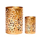 #8: Scrafts Golden 2pcs set Metal Candle Stand Party Café Pillar Candle Holder Home Decoration/Special Occasions/Romantic dates/Side Table Decoration Gift set For Festive Gift/Wedding gift/Corporate Gift