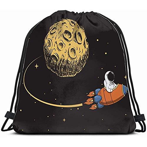 Kordelzug Rucksack Sporttasche Für Männer \\U0026 Frauen Astronauten Kommen Nach Mission Mond Raumfahrer Der Kunstwissenschaft Zurück