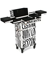 Urbanity Professional Nail Technician Large Aluminium Beauty Makeup Trolley Case Zebra