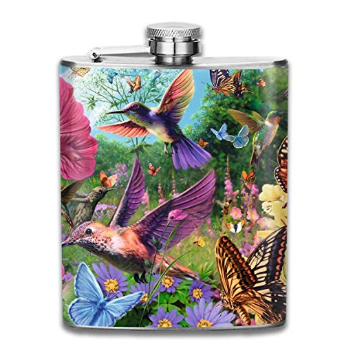 liquor can Hummingbird Butterfly Garden Stainless Steel Flask 7 Oz -