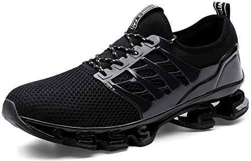 JOOMRA Herren Fitnessschuhe Laufschuhe Sportschuhe Sneakers Leicht Jogging Schuhe Gym Turnschuhe Outdoor Running Atmungsaktiv Freizeit Männer Jungen Jungs Schwarz 45