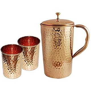 AVS STORES Indian Pure Hammered Copper Jug with 2 Tumbler Glass Set for Ayurvedic Healing by