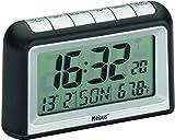 Funkwecker digital in schwarz/silber mit LCD-Anzeige von Uhrzeit, Kalender und Innentemperatur