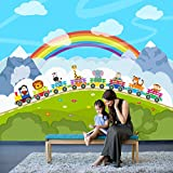Tierzug Wandbild Regenbogen Foto-Tapete Kinder Kinderzimmer Spielzimmer Wohnkultur Erhältlich in 8 Größen Riesig Digital