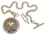 Solido con parte frontale in peltro, due tonalità, Design a nodo celtico con drago 59 madreperla-Orologio da taschino