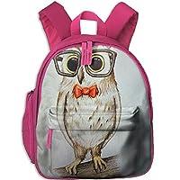 Cute Owl Double Zipper Closure Waterproof Children Schoolbag Backpacks with Front Pockets for Kids Boy Girls