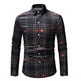 Langarmshirt Für Herren,Slim Fit Langarmhemd Bedrucktes Lässiges dünnes Longshirt Plaid Lange Ärmel T-Shirt Langarm-Shirt Resplend