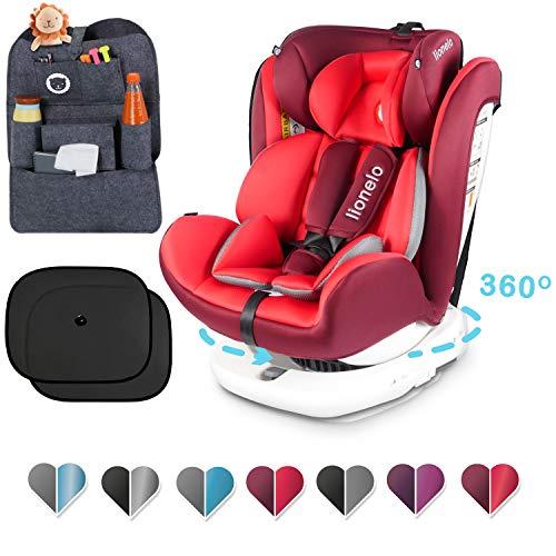 Lionelo Bastiaan Kindersitz, Autokindersitz ab Geburt, Rücksitz-Organizer und zwei Sonnenblenden, Gruppe 0+ 1 2 3 (0-36 kg), ISOFIX 360°, TÜV SÜD, ECE R 44/04 (Rot+Set)