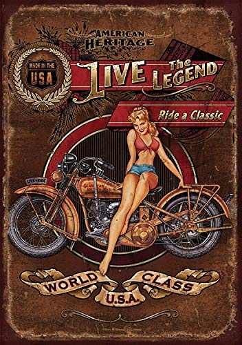 Sary buri Harley Davidson Heritage Vintage Metall Blechschild Plaque Wandkunst Geeignet für Garage Club Bar Cafe Malerei Dekoration (Davidson Themen Harley)
