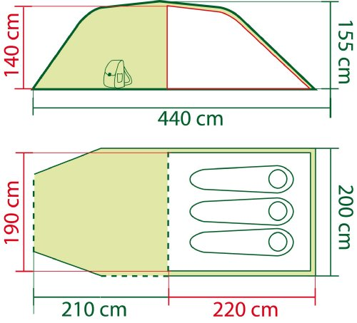 Coleman Zelt Coastline 3 Personen, grün, 220 x 190 x 140 cm, 205111 -