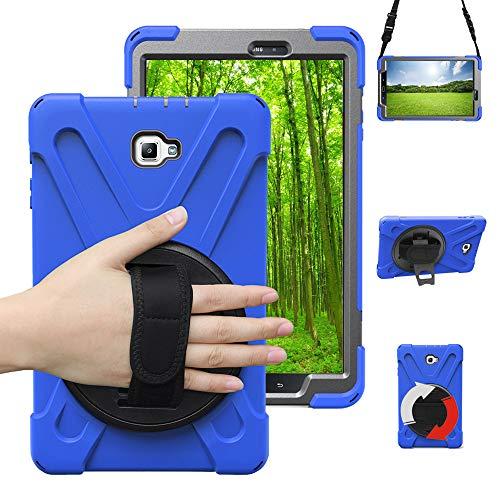 Junfire Hülle kompatibel für Samsung Galaxy Tab A 10.1, T580, T585 case mit 360 Grad drehbar mit Ständer, Handgurt und Schultergurt,Multiple Schicht-Hybrid-SchwerLast-Schock Hülle Blau