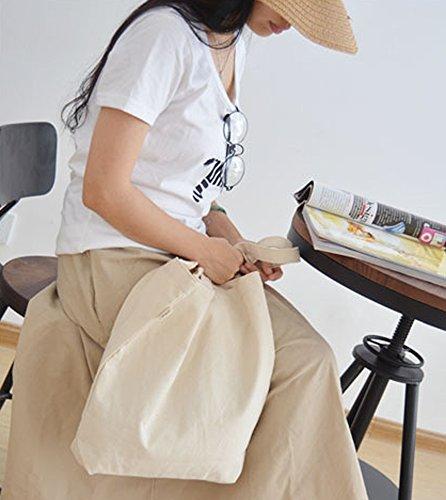 Minetom Borse A Mano Da Donna Borsa A Spalla Sacchetto Tote Della Casuale Tela Bianco Stampa Bianca