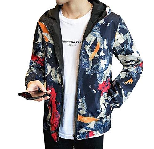 Aooword-men clothes Herren Plusgröße reversible outwear tops hood vogue casual-jacke 4X-Large Marine Blau Plus-size-reversible Coat