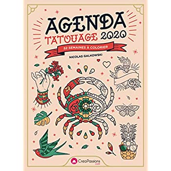 Agenda Tatouage 2020 - 52 semaines à colorier