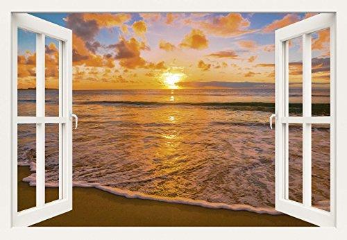 Artland Poster oder Leinwand-Bild fertig aufgespannt auf Keilrahmen mit Motiv Idiz Fensterblick - Schöner tropischer Sonnenuntergang am Strand Landschaften Sonnenaufgang & -untergang Foto Orange B1PH