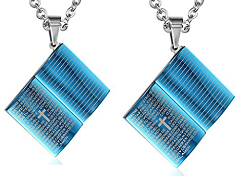 Daesar Hers & Hers Necklace Set Couples Stainless Steel Textbooks Bible Cross Lord Prayer Pendant