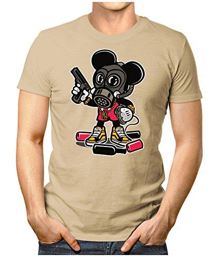 PRILANO Herren Fun T-Shirt - GANGSTA-MOUSE - Small bis 5XL - NEU Khaki