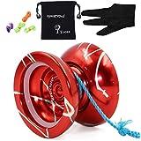 Magicyoyo Yostyle N11 Aleación de aluminio profesional yoyos Bolas Yoyo bola + 5 Cuerdas + Guantes de juguete niños presentes regalos de la muchacha del muchacho (Rojo + Plata)