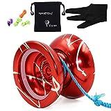 Original MAGIC YOYO N11 Aluminium Profi Yo-yos Ball & Handschuhe & 5 Streicher, Spielzeug Kind Mädchen Jungen Geschenke (Rot)