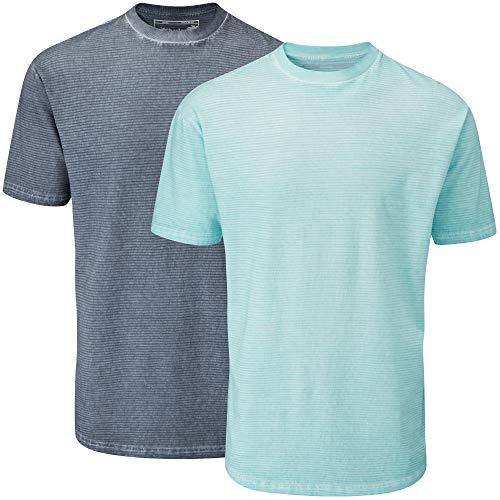 Charles Wilson 2er Pack gefärbtes T-Shirt mit Rundhalsausschnitt (XX-Large, Grey & Blue) -