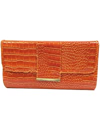 DIETZ Clutch Abendtasche mit Reptilprint Lack orange 30x16x4,5cm