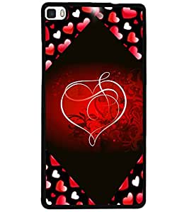 ColourCraft Love Heart Design Back Case Cover for HUAWEI P8