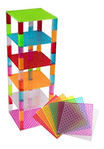 Stapelbare Premium-Bauplatten - kompatibel mit allen großen Marken - geeignet für Turm-Konstruktionen - Set aus 6 Platten - je 15,2 x 15,2 cm - Blau, Transparent, Grün, Magenta, Orange und Rot