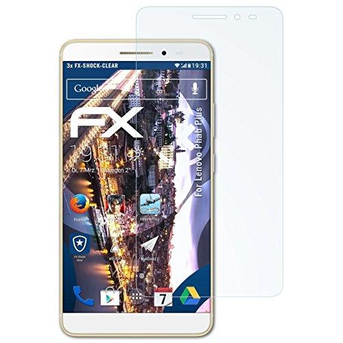 atFolix Schutzfolie kompatibel mit Lenovo Phab Plus Panzerfolie, ultraklare & stoßdämpfende FX Folie (3X)