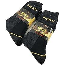 Work - Calcetines de trabajo reforzados (6 pares, esponja de algodón de refuerzo en talón y punta) 43-46