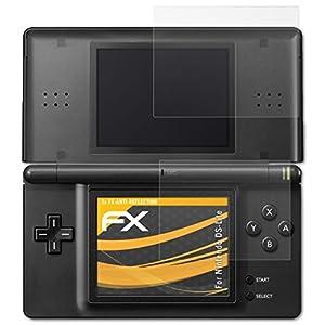 atFoliX Panzerfolie kompatibel mit Nintendo DS-Lite Schutzfolie, entspiegelnde und stoßdämpfende FX Folie (3er Set)