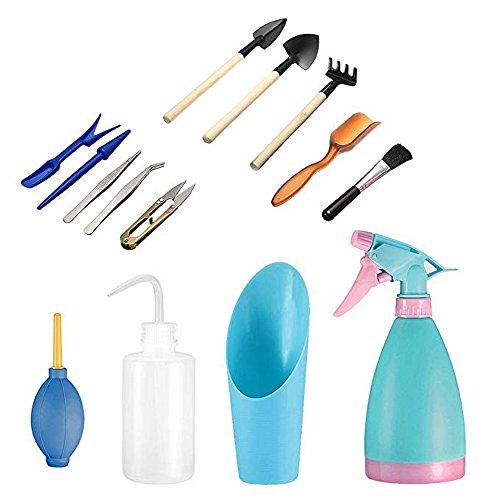 Amasawa Mini Gartenarbeit Handwerkzeuge Set(14 Stück),Sukkulenten Werkzeuge Miniatur Gartenarbeit Werkzeugsets Include Pruner, Mini Rake, Wasser Flasche und Schaufeln Sprühflasche,etc.