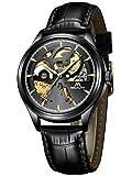 Relojes Hombre Reloj Automatico de Hombre Mecanicos Militar Deportes Impermeable Esqueleto Oro Relojes de Pulsera de Cuero Negro Luminosos Analógico