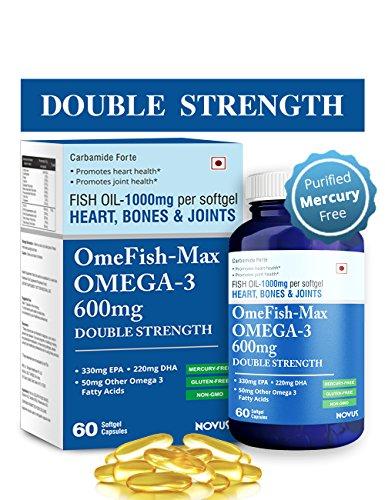 Carbamide Forte Omega 3 Fish Oil 1000Mg Double Strength Epa & Dha For Heart, Bones & Joint Health - 60 Softgel Capsules
