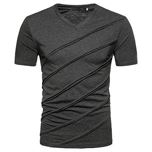 Herren Tank Tops,Sannysis Mode Persönlichkeit Männer Casual Schlank Solide Kurzarm T-shirt Top Bluse (L, Dunkelgrau)