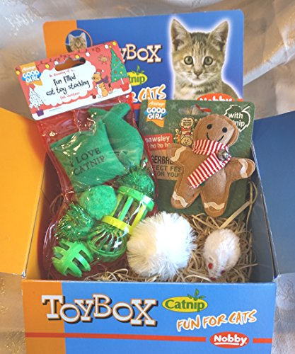 CAT CHRISTMAS GIFT TOY BOX WITH TOY STOCKING CATNIP GINGERBREAD MAN FLUFFY CATNIP SNOWBALL AND CATNIP MOUSE