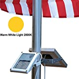 ALPHA 180X (warm weiße LED) Solar-Fahnenmastleuchte zur Fahnenmastbeleuchtung / Gusseisen-Straßenleuchten-Stil im Doppelpack als Scheinwerfer mit Biegewinkel von 180 Grad als Uplight oder Downlight / U-Bügel-Halterung passt an Fahnenmasten mit maximalem Durchmesser von 6,35cm (2,5 inch)